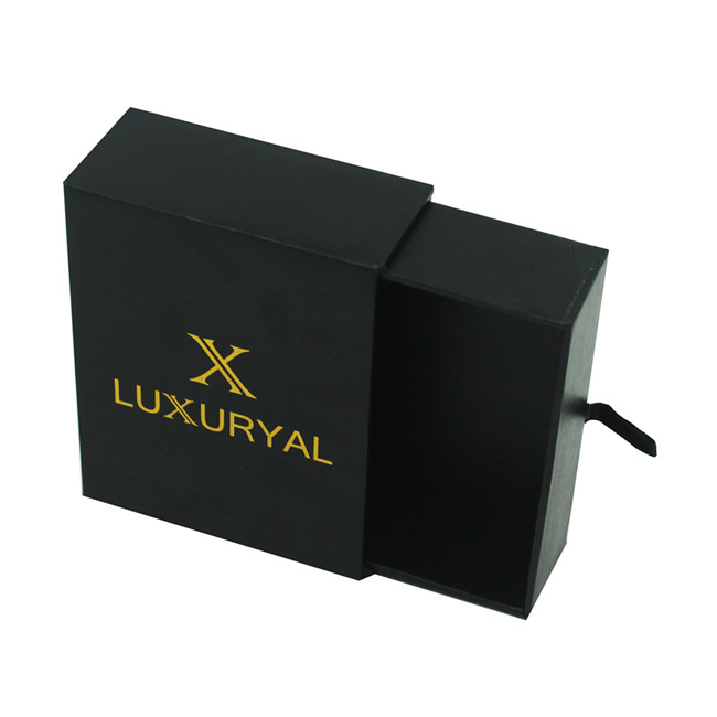 Logo gold stamped black jewelry box