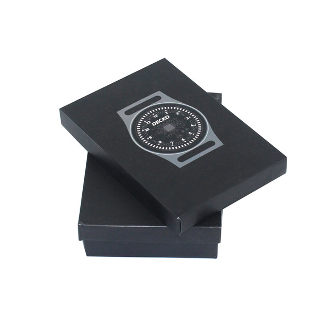 Matte black customized watch box with foam