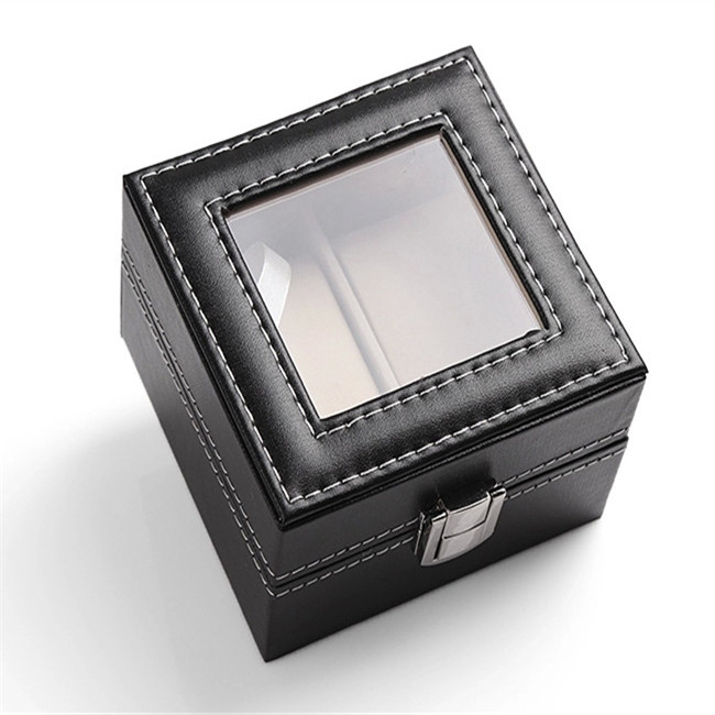 Black PU Cover Mens Watch Display Box With Window
