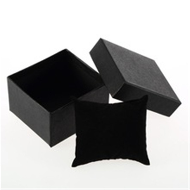 Cardboard Made Matte Black Jewellery Box With Black Pillow