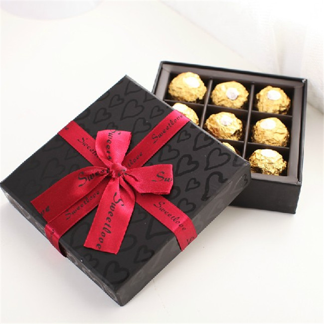 Matte Black Cardboard Chocolate Truffle Boxes