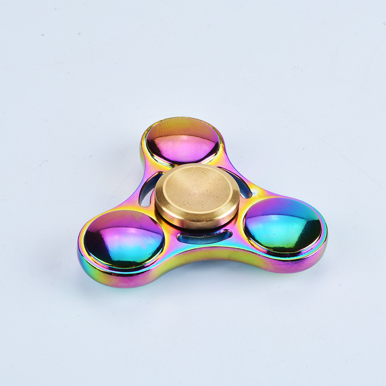 Rainbow Colorful Aluminum Alloy Tri Spinner Toy