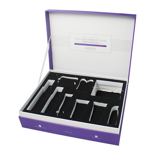 Custom Printed Purple Cosmetic Boxes With EVA