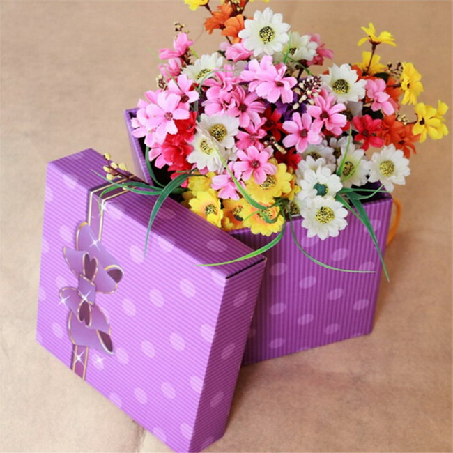 cardboard flower box with handle